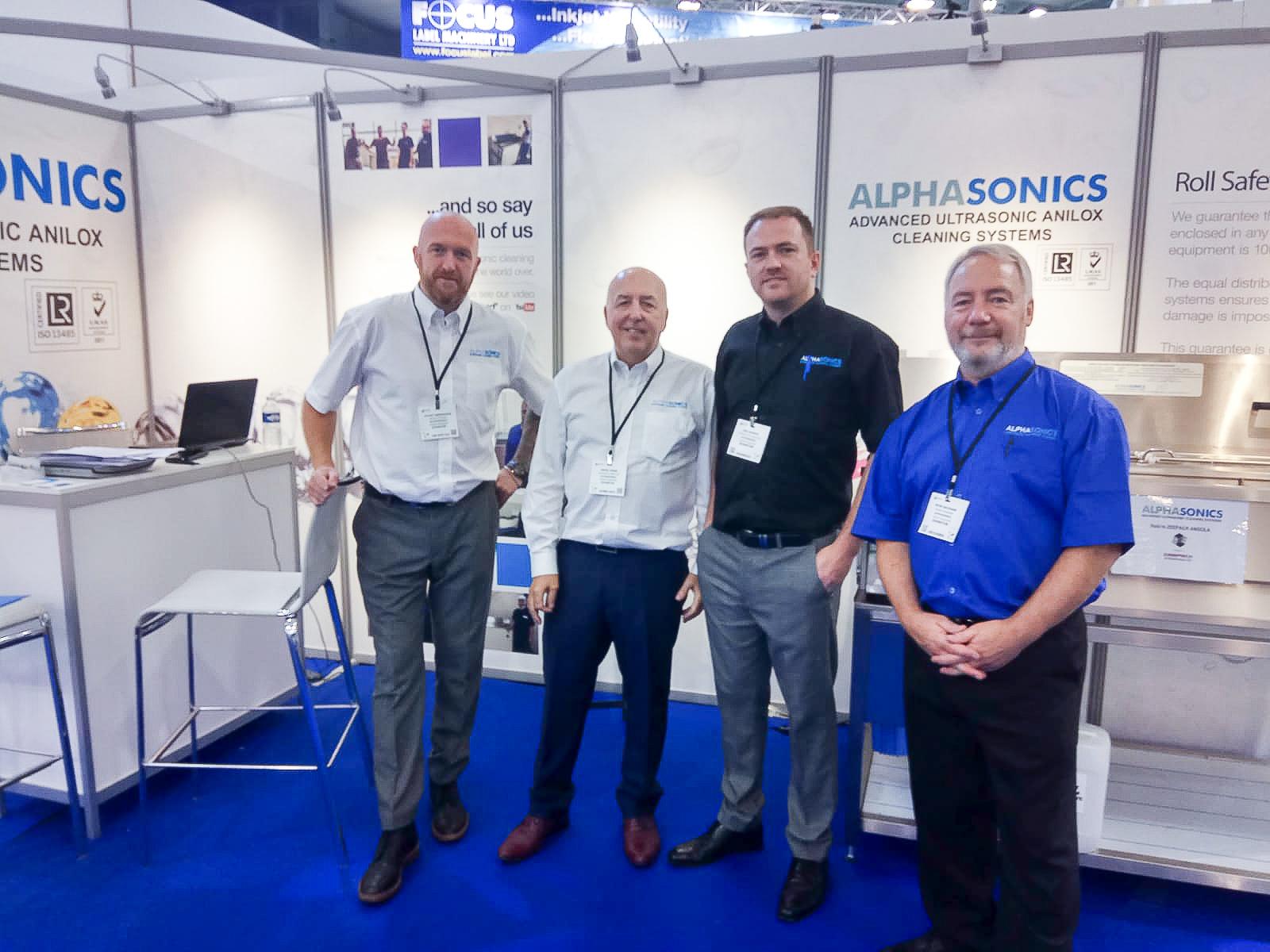 The Alphasonics UCS team exhibiting at Labelexpo 2019.