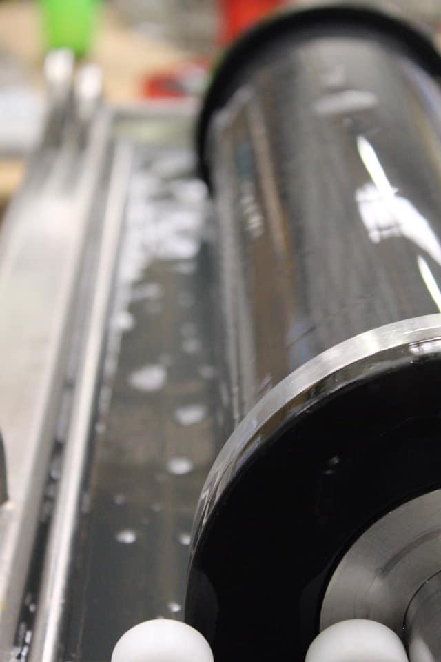 A close up shot of an Anilox Roll.