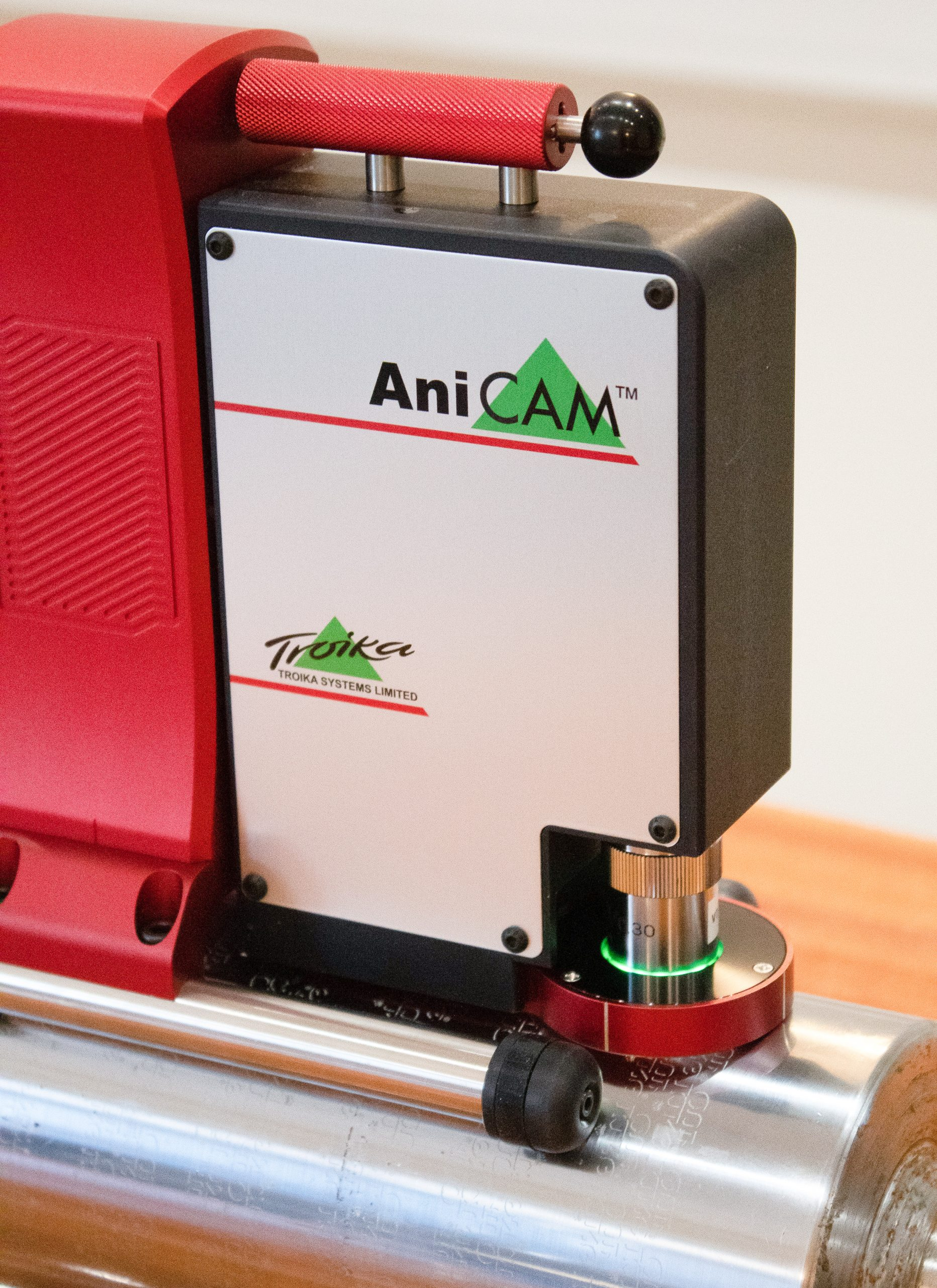 An up close photo of the AniCam device in which Alphasonics use to measure the readings of Anilox Rolls.