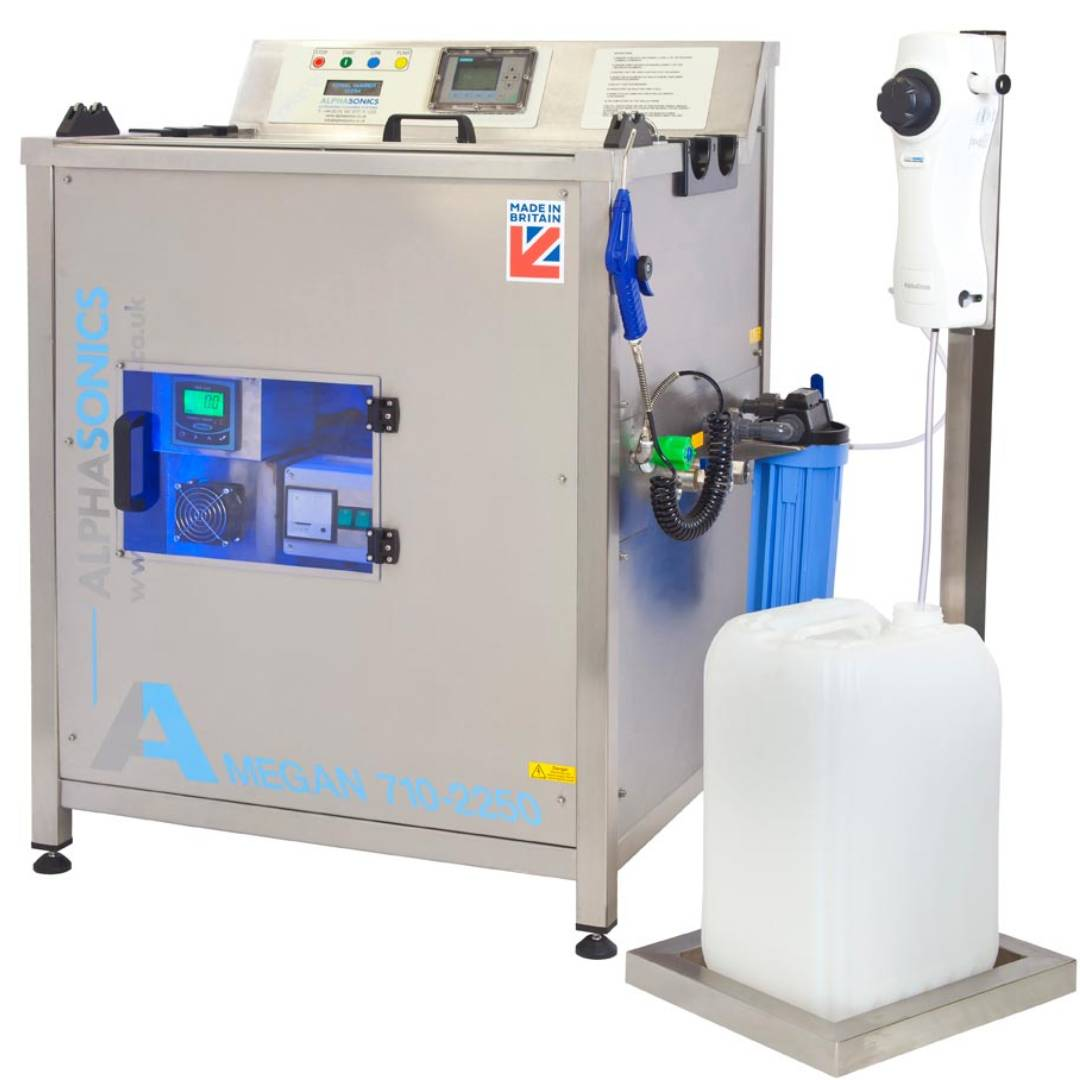 An animated image of the Automatic Chemical Dosing device from Alphasonics.