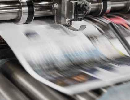A decorative image of printing press. Alphasonics have cater to the Print industry since 1993 and many of our systems can be found in pressrooms around the world.